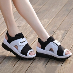 2017 Women's Sandals Casual Sport Mesh Breathable Shoes Woman Comfortable Wedges Sandals black US4