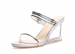 Crystal with fashion ransparent slope with sandals 2017 new high-heeled sandals female slippers silver 34