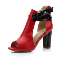 new fashion sandals sexy high heels zip genuine leather shoes woman platform ladies wedding shoes red 3.5