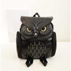 Newest Stylish Cool Black PU Leather Owl Backpack Female Hot Sale Women shoulder bag black one size