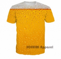 Cool Summer Beer Full Print T Shirt Novelty Short Sleeve Tee Top Man Unisex Outfit yellow US XXS