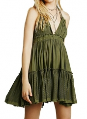 Women Summer Deep V Neck Sexy Patchwork Short Dresses green S