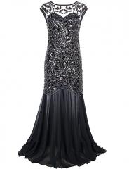 Women 's 1920s Black Sequin Gatsby Maxi Long Evening Prom Dress black 2/4