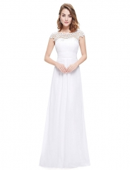 Women's Lacey Neckline Open Back Ruched Bust Evening Dress #01 4