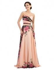 Floral Print Graceful Chiffon Prom Dress for Women (Multi-Colored) multi 2