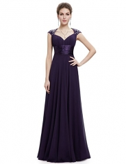Chiffon Sexy V-neck Ruched Empire Line Evening Dress purple 4
