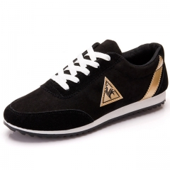 Casual Shoes canvas shoes for men Lace-up Breathable Flats pu Leather fashion suede shoes black US6.5