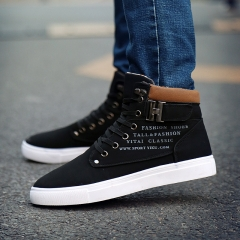 Fashion Warm Fur Winter Boots Autumn Leather Footwear For Man New High Top Canvas Casual Shoes black US6.5