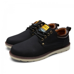 Hot Sale Casual Shoes Men Spring Autumn Waterproof Solid Lace-up Fashion Flat With Pu Leather Shoe black US6