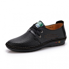 Genuine Leather Men casual shoes Summer Breathable Soft Driving chaussure Net Surface Loafers black US6.5