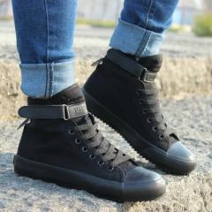 Spring/Autumn Men Casual Shoes Breathable Black High-top Lace-up Canvas Shoes Espadrilles Fashion black US7