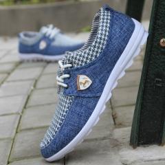 Casual Shoes mens canvas shoes for men shoes Flats Leather brand fashion suede Zapatos de hombre blue US6