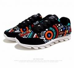 Casual shoes men canvas shoes fashion breathable geometry shoes men black US6