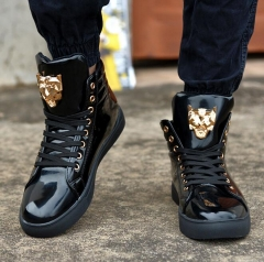 2017 New Fashion High Top Casual Shoes For Men PU Leather Lace Up Red White Black Color Mens black US6