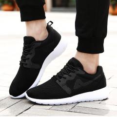 New Summer Flat Shoes man zapatillas hombre Comortable Casual Lace-Up Flats Breathable mesh black US7