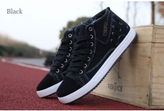 Men Canvas Shoes Fashion Trend Retro Breathable Casual Ankle Lace Up British Designer Student black US7