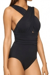 Women's Black Front Cross One-piece Padding Swimsuit black S