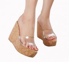 2017 New Summer Transparent Platform Wedges Sandals Women Fashion High Heels Female Summer Shoes #01 US4