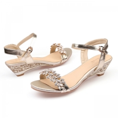 Summer Fashion Sexy Crystal Bling Medium Heels Woman Wedges Sandals Party Dress Shoes gold US5