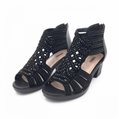 2017 summer female sandals leather fish mouth sandals cowhide diamond hollow high heel women black US5
