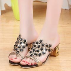 Fashion Women Big Rhinestone Cut-outs High Heel Sandals Ladies Party Shoes Woman Beach sandals black US5