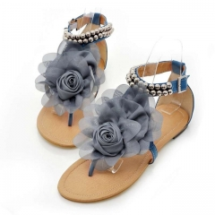 Women Flower Shoes Beading Ankle Strap Flat Sandals Ladies Open Toe Leisure Beach Footwear blue US4