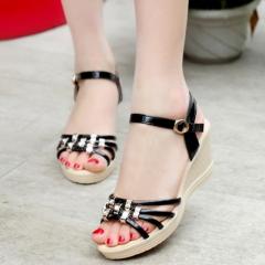 Fashion Women Sandals Summer Shoes Women Open Toe Sandals black US5