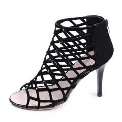 Summer Woman Cross-tied Ankle Strap Peep Toe Thin Heels Sexy women Pumps Gladiator Zipper Shoes black US4.5