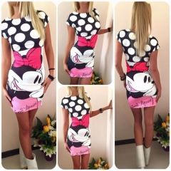 Summer Dresses Women Clothing Robe Sexy Cartoon Bodycon Miki Print ONeck Casual Sheath Dresses #01 S