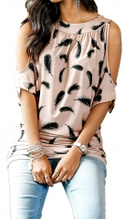 Women's Feather Printing Top Spring Summer Casual Short Sleeve Bat Shirt Plus size pink S