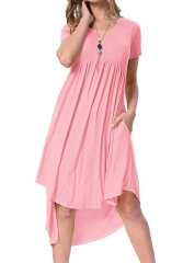 Women's Scoop Neck Pockets High Low Pleated Loose Swing Casual Midi Dress #01 S