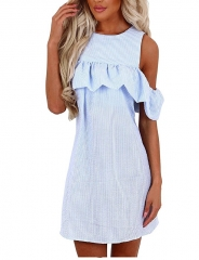 Women's Summer Casual Cold Shoulder Ruffles Striped Mini Dress Loose Shirt blue S
