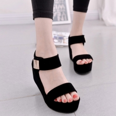 2017 new women wedges sandals women's platform sandals fashion summer shoes women casual shoes black US4.5