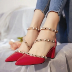 women pumps fashion new design rivets women sandals comfortable square heels quality high heels red 5