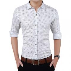Fashion Brand Men Clothes Slim Fit Men Long Sleeve Shirt Men Polka Dot Casual Men Shirt Social white M