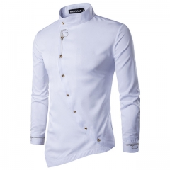 Personality Oblique Button Irregular Men Casual Shirt Long Sleeve Casual Slim Fit Male Shirts white S