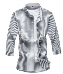 2017 Summer Men Business Striped Casual Shirt Fashion Big Size Male Shirt Large Size navy blue M
