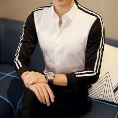 long sleeve casual shirt men striped patchwork dress shirts male fashion slim fit social chemise white M