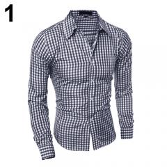 Men's Fashion Casual Lapel Button Down Plaid Long-Sleeved Slim Fit Shirt Top #01 XL