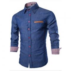 Men Shirts Business Long Sleeve Turn-down Collar Long Sleeve Shirt Dress Male Shirt Slim Fit Popular dark blue M
