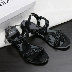 Summer flip flops plastic chain beach shoes candy color jelly chain flat bottomed out sandals Shoes black US5