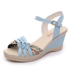Women's shoes summer wedges sandals platform straw braid color block high-heeled shoes #01 US4
