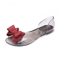 Summer Crystal Jelly Shoes Female Sweet Open Toe Flat Heel Casual Beach Sandals Flats Women Shoes #01 US5