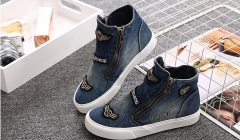 New Women's Casual Shoes Women Fashion Flat Canvas Shoes Denim Students Zipper Shoes #01 US5