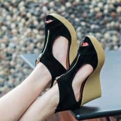 Women Wedge Sandals Summer Casual Shoes Woman Platform Wedges Vintage High Heels black US6