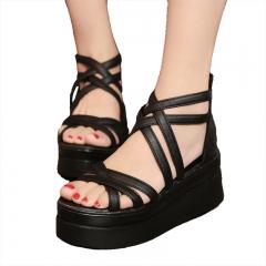 Women's shoes cross dewy toe women sandals sponge base platform height with the Roman sandals black US5