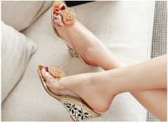 Women Shoes Slides Summer Sandals Flower Transparent Slippers High Heels Beading Mules Shoes gold US5