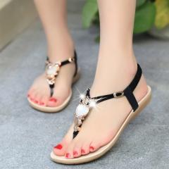 Women Sandals Elastic T-strap Bohemia Beaded Owl Slipper Flat Sandals Flip flop Summer Style black US5