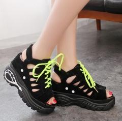 Sandals Women's Leisure Platform Sandals Cutout Thick Heels Wedges Summer open toe sandals black US5