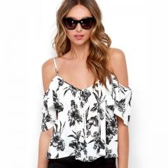 Women Open Off Shoulder Short Chiffon Floral T-shirts Ruffles Back Split Single Breasted Crop Tops white S